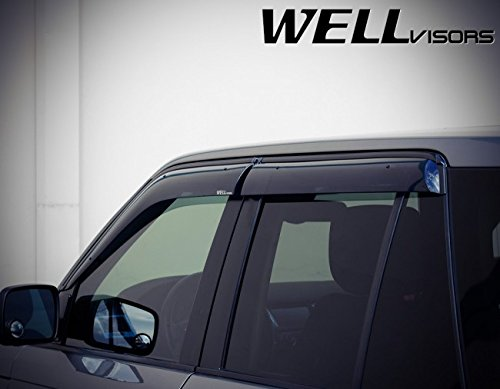 Replacement for 2006-2013 Land Rover Range Rover Clip-ON Chrome Trim Smoke Tinted Side Rain Guard Window Visors Deflectors 3-847LR004 by WellVisors (Image #3)