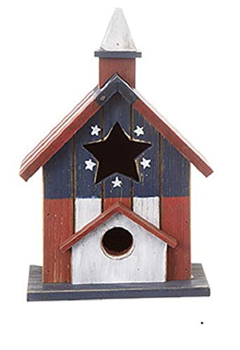 Darice Tabletop Birdhouse: Red White Blue 10.5 inches (Red/Blue)