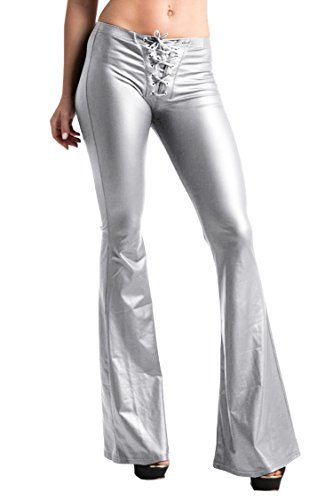 1970's Flared Pants - COCOLEGGINGS Womens 70s Glam Rock and Roll Indie Wide Leg Flared Bell Bottom Pants Silver L