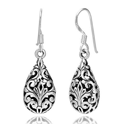 925 Oxidized Sterling Silver Bali Inspired Filigree Puffed Teardrop Dangle Hook Earrings Handmade Gift