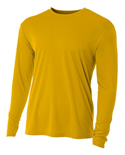 A4 Men's Cooling Performance Crew Long Sleeve T-Shirt, Gold, Medium