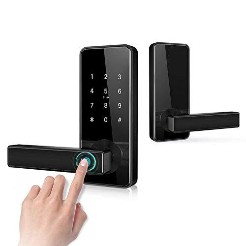 Keyless Entry Door Lock Smart Biometric Fingerprint Door Handle with Bluetooth App Anti-Peep Pin Code ID Card Key Unlock Safe Front Door Lever for Home Office Apartment Garage by Nyboer(Triple Black)