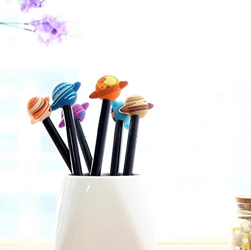 4-pcs-kawaii-vintage-3d-cool-planet-design-gel-pen-038mm-black-ink-signing-pen-funny-gift-office-sch
