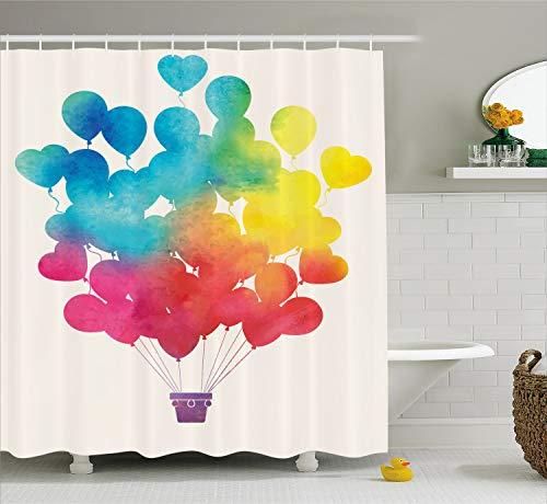 Ambesonne Watercolor Shower Curtain, Hot Air Balloon Rainbow Colors Heart Shapes Cheerful Happy, Cloth Fabric Bathroom Decor Set with Hooks, 75