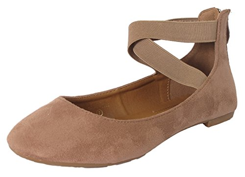 Womens Shoes Black Tan - ANNA Dana-20 Women's Classic Ballerina Flats w/Elastic Crossing Straps Taupe 6.5