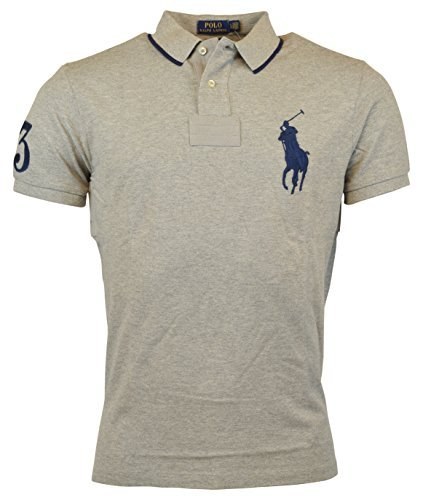 Ralph Lauren Pony (Mens Polo Ralph Lauren Custom Fit Big Pony Mesh Shirt (M, Grey 2017))