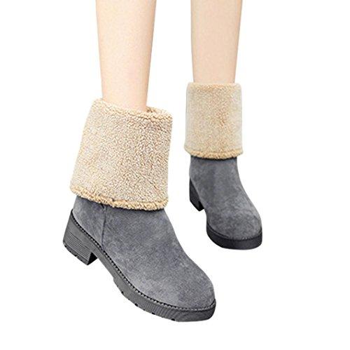 Transer® Damen Keilabsatz Stiefel & Stiefeletten Warm Schuh Kunstleder+Plastik (Bitte achten Sie auf die Größentabelle. Bitte eine Nummer größer bestellen. Vielen Dank ) (36, Khaki)