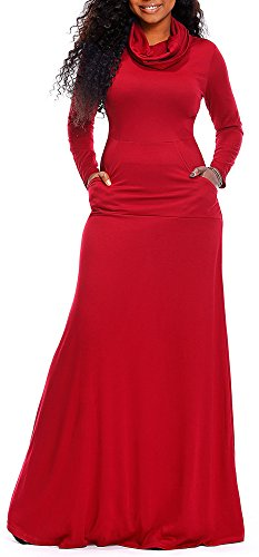 Boloren Women Cowl Neck Maxi Dresses Long Sleeve Loose Plain Maxi Dresses With Pockets