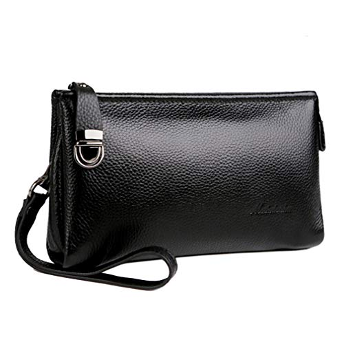 Hebetag Leather Long Clutch Handbag Purse Wallet for Men Wristlet Phone Holder Organizer Wrist Bag Business Handbags Black