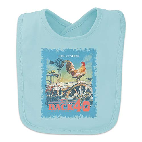 Back 40 Barn Keepin' It Rural Rise and Shine Rooster Farm Farming Baby Bib - Blue