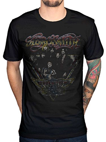 AWDIP Men's Official Aerosmith World Tour Vintage T-Shirt Rock Band Music Album Retro ()