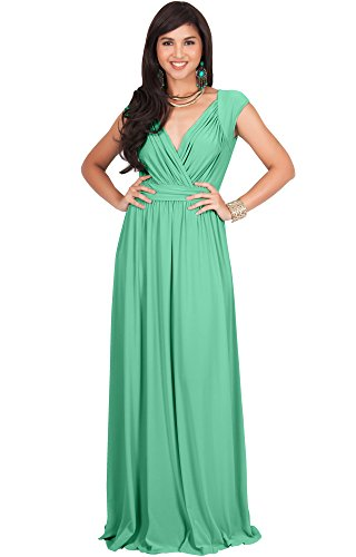 KOH KOH Petite Womens Long Cap Short Sleeve Cocktail Evening Sleeveless Bridesmaid Wedding Party Flowy V-Neck Empire Waist Vintage Sexy Gown Gowns Maxi Dress Dresses, Moss/Mint Green S 4-6 -