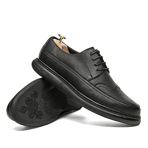 Color de Negro de Cuero de de Marrón Gris los de Redonda Jusheng Exterior Punta tamaño Ocasionales de Negocios Color Oscuro Suela EU la 41 Zapatos Hombres 4wt5qP