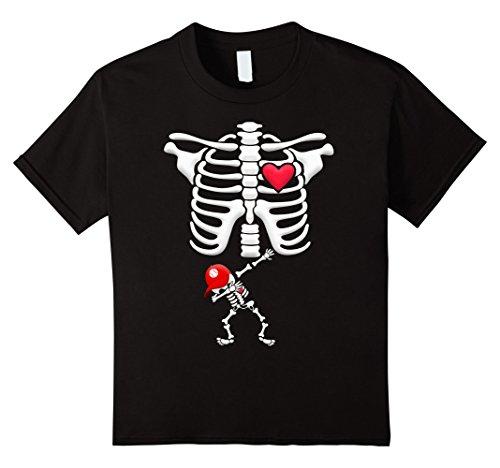 Kids Pregnant baseball Skeleton Costume Halloween Shirt 8 Black