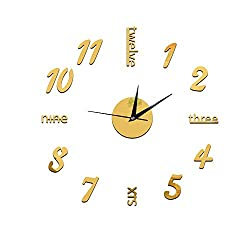 XPXKJ 3D Frameless Large Wall Clock Modern Mute Mirror Surface DIY Room Home Office Decorations (big, golden)