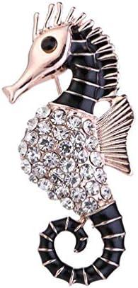 1st market ?ラインストーンタツノオトシゴ男性女性ブローチピンブレストピン襟ピンファッション衣類アクセサリースタイリッシュで人気