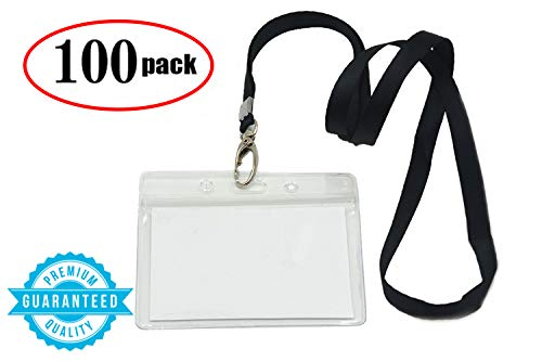 Lanyard with id Badge Holder Women Kids Wallet String Necklace Clip Bulk breackaway Black Horizontal Card Name Key Chains Office ID Name Tags Men Girl School 100 Pack ()
