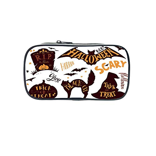 Personal Tailor Pen Bag,Vintage Halloween,Halloween Symbols Trick or Treat Bat Tombstone Ghost Candy Scary Decorative,Dark Brown Orange,for Students,Comfortable Design