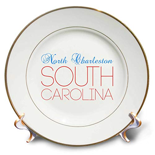 3dRose Alexis Design - American Cities South Carolina - North Charleston South Carolina Blue, red Text. Home Town Design - 8 inch Porcelain Plate (cp_303161_1)
