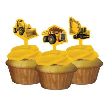 Construction Zone Party Pick Cupcake Decorations (12 ct) (Construction Party Cupcake)