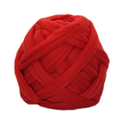 Chunky yarn for Arm Knitting, Weaving, Chunky Crochet, Roving. 100% Merino Wool. 23 Microns. 42 colors. (2,2lbs, Bright Red) by Nata Home and Fashion