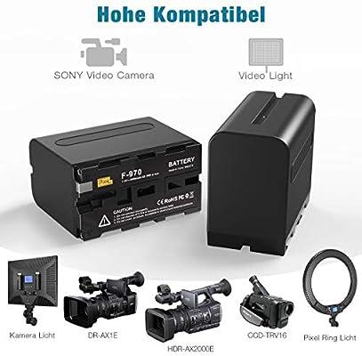 DSR-PD150 Paquete de 2 bater/ías Recargables NP-F970 Pixel 8400mAh 7.4v Cargador Doble Reemplazo de Enchufe del Reino Unido Compatible con Sony DCR-VX2100