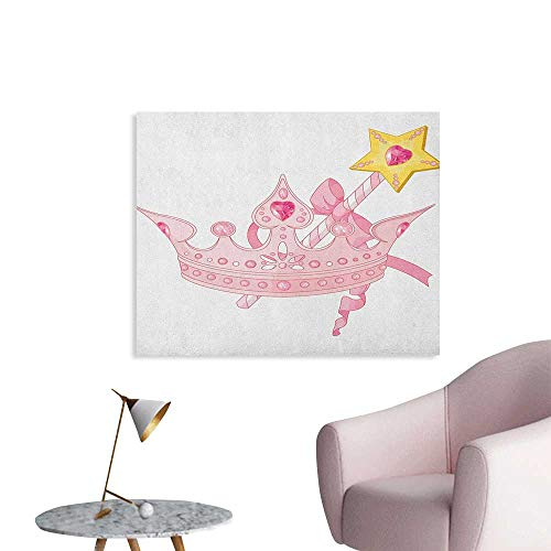 - Princess Home Decor Wall Crown and Magic Wand for True Princess Ribbon Golden Antique Artwork Print Space Poster Pale Pink Yellow W32 xL24