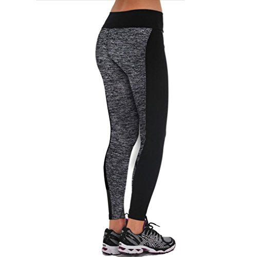 Bestpriceam Women's Tights Active Yoga Running Pants Workout Leggings (L, Gray)