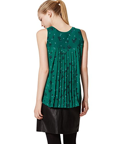 ann-taylor-loft-womens-green-floral-mixed-media-knife-pleated-shell-blouse