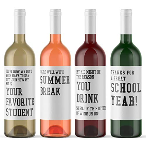 End of School Teacher Gift - 4 Funny Wine Bottle Labels for Educators | Pairs Well With Summer Break | Thanks For A Great School Year | My Kid Might Be The Reason You Drink | Teacher Appreciation