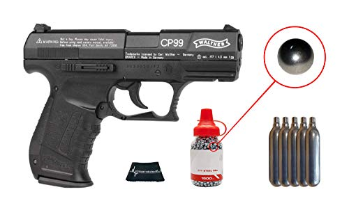 Walther CP99 Compact Air BB Pistol with Included CO2 12 Gram (5 Pack) and Pack of 1500 Precision Steel BBS and Wearable4U Cloth