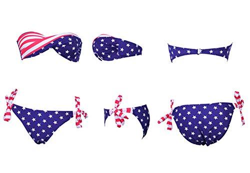 Fortuning's JDS® Sexy amerikanische Flagge Stil Sternenbanner Bikini-Badebekleidung für Frauen