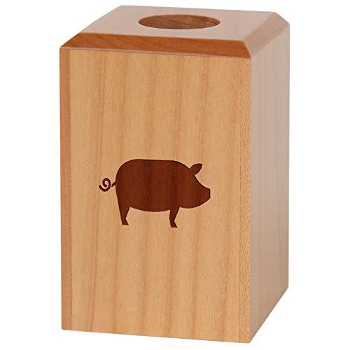 (Pig Magnetic Paper Clip Holder - Paper Clip Organizer with Laser Engraved Design - Wood Paper Clip Holder Gift)