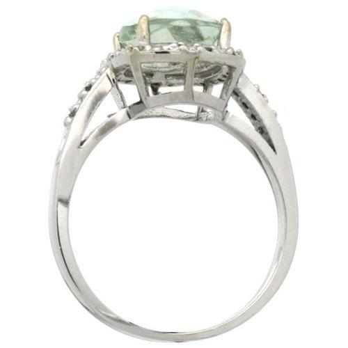 Revoni - Bague Femme - Argent Fin 925/1000 - Morganite forme Coussin 2.08 Cts - Diamant Rond brillant 0.07 Cts