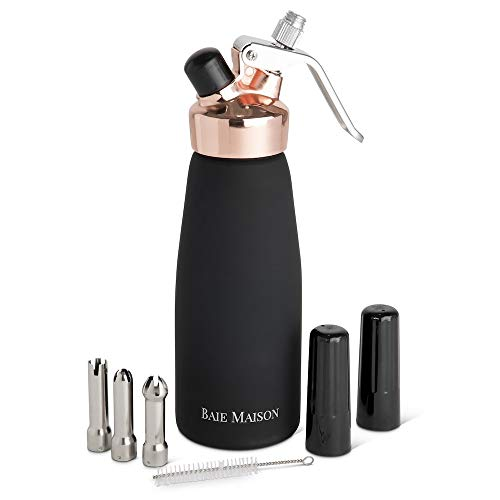 Professional Whipped Cream Dispenser 1 Pint with 3 Nozzle Caps, Aluminum, Black and Rose Gold - Fresh, Homemade Whip Cream Maker Syphon - In-Home Use for Bakers, Baristas