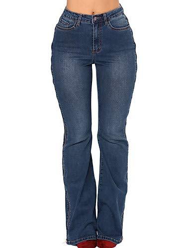 YFLTZ Pantalon Jeans Street Chic pour Femme - Couleur Unie Navy Blue