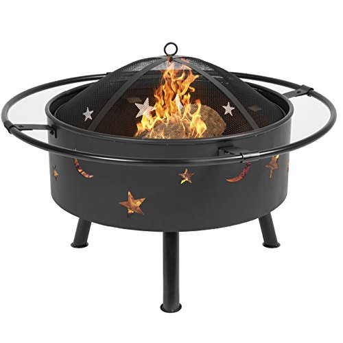 Best Choice Products 30in Outdoor Patio Fire Pit BBQ Grill Fire Bowl Fireplace w/Star Design - Black by Best Choice Products