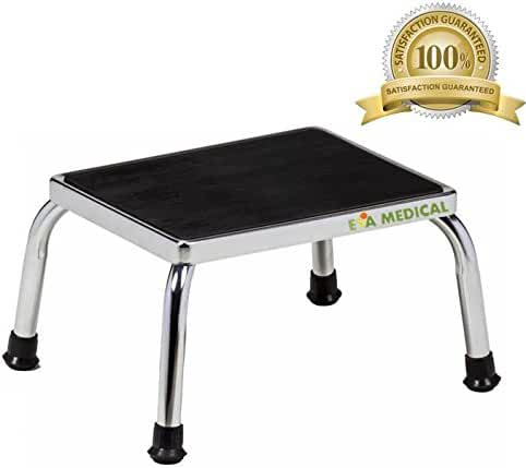 Eva Medical Foot Step Stool with Non Skid Rubber Platform, Chrome Frame (Fully Assembled, no tools required)