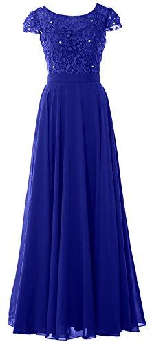 ad pizzo Royal con abito con sera Macloth aletta da Blue donna lungo maniche da elegante xYdqOPOn1