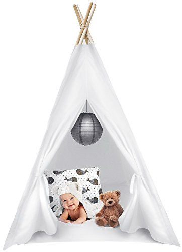 Sorbus Kids Foldable Teepee Play Tent Playhouse Classic Indian Style Play Tent and Carry Bag, Walls with Door, Window and Floor (White) -