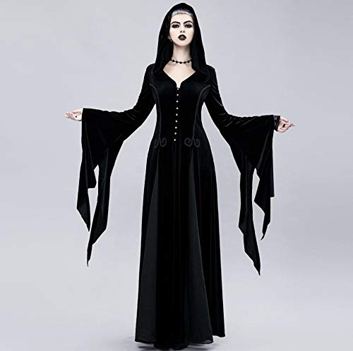 ZYX Witch Long Skirt Halloween Cosply Costume Dress Medieval Vintage Button Waist Loose Witch Cuffs Halloween Lady Dress Up Costume Beautiful Thriller Black -