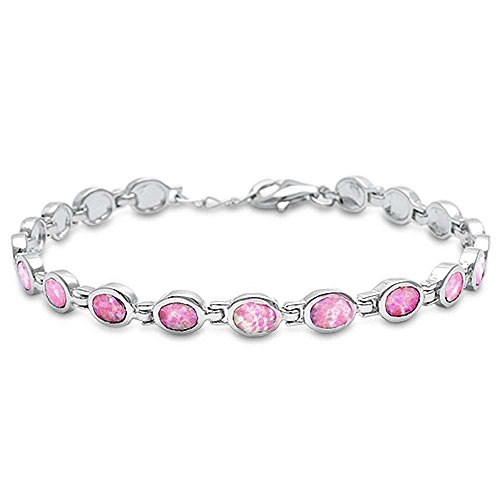 Oval Lab Created Opal .925 Sterling Silver Bracelet Colors Available (Lab Created Pink Opal)