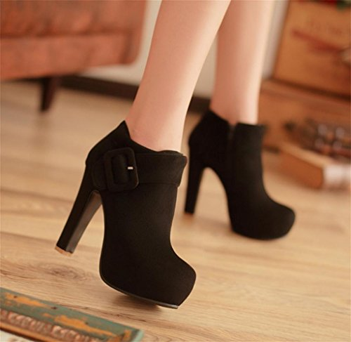 fashion Dress Strap Black Platform Heel shoes Martin Shoes Women's MNII Ankle Fashion Pump Stiletto Party Xvpxw6A