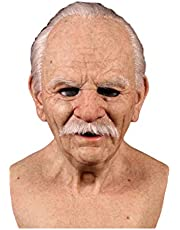 Halloween Old Man Mask, Halloween Face Cover Horror Realistic Latex Old Man Headgear Prop Costume Cosplay Horror Props for Adults Party