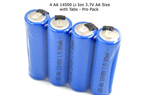 Pro Pack - 4 PCS - New Li-Ion Battery 3.7V 14500 800 mAh AA Size Flat Top Rechargeable Battery with Solder tabs for Braun Series 5 and Norelco Arcitec and 8150 XL Models …