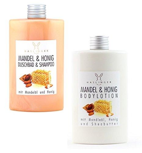 Almendra y Miel ducha baño y champú con mandelöl y sheabu tter, disponible en pack doble con Body Loción: Amazon.es: Belleza