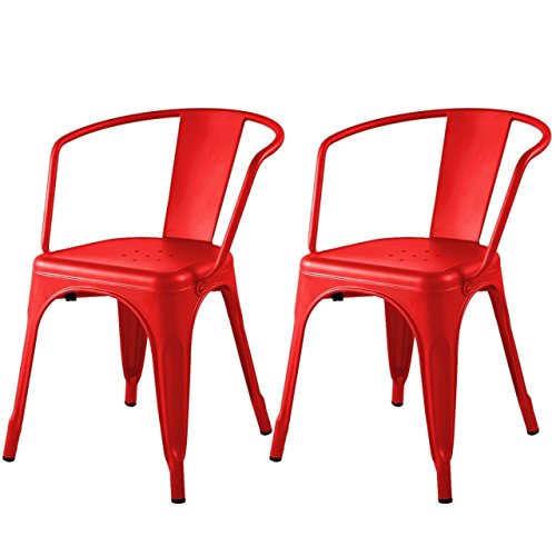 Modern Classic Style Metal Side Chairs Comfortable Backrest Design Durable Powder-Coated finish Scratch Resistant Stackable Bar Stools - Set of 2 Red ()
