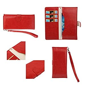 DFV mobile - Cover Premium Synthetic Leather with Card Case and Close by Magnet for => Spice Mi-535 Stellar Pinnacle Pro > Red