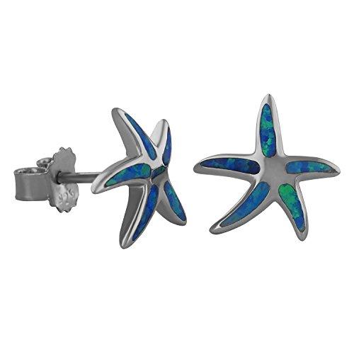 Sterling Silver Synthetic Blue Opal Starfish Stud Earrings
