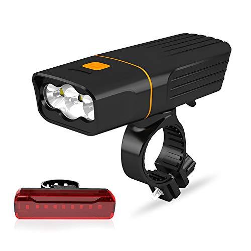 A02 Headlamp - TGX Mountain Bike Lights Headlight 3 LED Super Bright 360 Degree Rotating Bracket USB Front and Back Rechargeable Bike Light Set IPX Waterproof 3 Modes (Headlights & A02 taillight, 5 Hours L2)